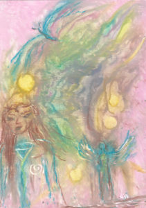 original spiritual drawing - Sun Child Mystic Lands
