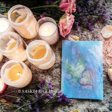 Sacred blue heart Mother Mary copyright Saskia Art and Healing