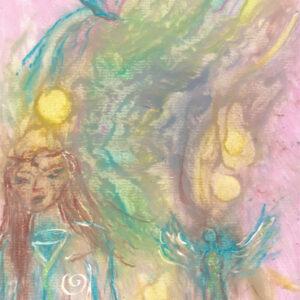 original spiritual drawing - Sun Child Mystic Lands
